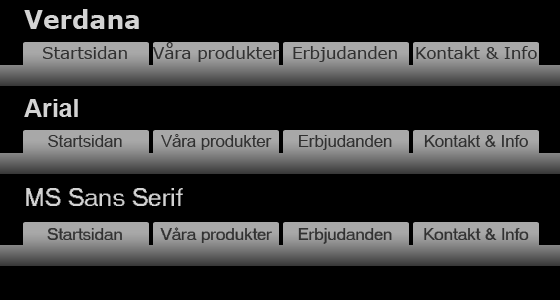 Verdana, Arial, Sans-serif
