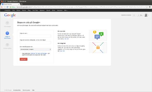 Steg 2: Väljs namn för din Google+ sida