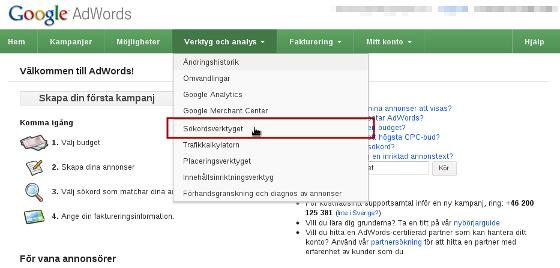 Google AdWords sökordsverktyg visar hur kunden söker!
